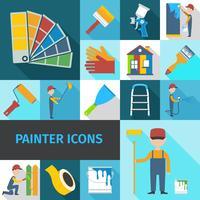 Peintre icônes définies ombre plane
