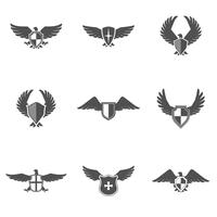 ensemble de bouclier icône aigle