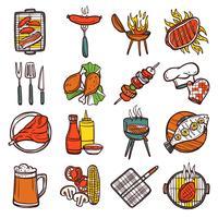 barbecue grill ensemble d'icônes de couleur