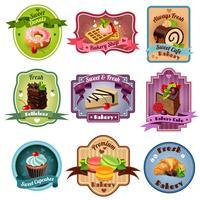 Ensemble d'emblèmes de boulangerie vecteur
