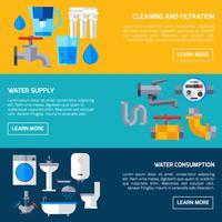 Bannières d'approvisionnement en eau vecteur