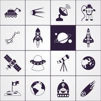 Icônes de l'espace noir vecteur
