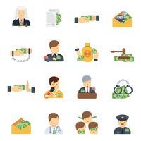icônes de la corruption à plat