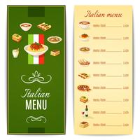 Menu de cuisine italienne