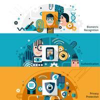 Bannières d'authentification biométrique vecteur