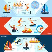 Bannières de sports nautiques vecteur