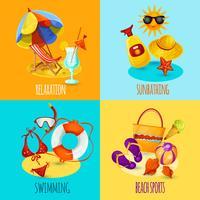 Set de vacances d'été vecteur