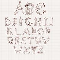 Jeu d'alphabet mécanique vecteur