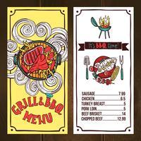 Croquis du menu Grill