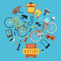 Cyclisme concept pictogrammes composition cercle imprimé