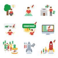 ensemble d'icônes de crowdfunding