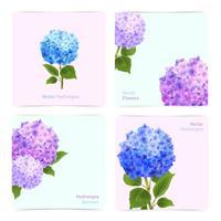 Jeu de cartes d'hortensia vecteur