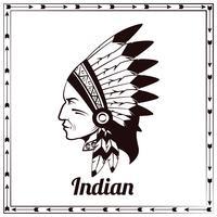 Croquis noir de chef indien américain
