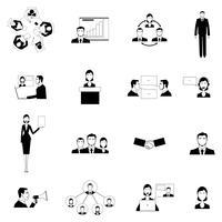 Ensemble d'icônes plat de réunion d'affaires