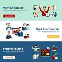 Bannières de concept de routine quotidienne homme d'affaires vecteur
