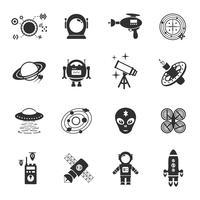 jeu d'icônes de fiction noir vecteur