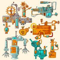 Machines industrielles griffonnages colorés