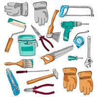 Peintre des outils de travail icônes mis en couleur