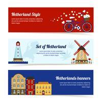 Bannières horizontales Pays-Bas vecteur