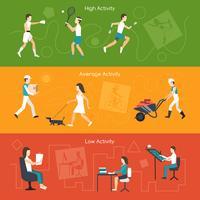 Bannières d'activité physique vecteur