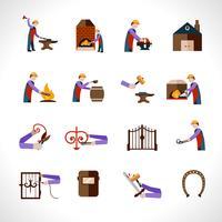 Forgeron Icons Set vecteur