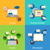Icône de l'éducation en ligne plat vecteur