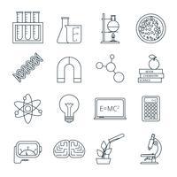 Icônes de la science décrites ensemble d'icônes