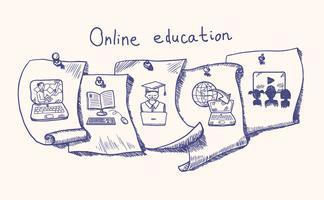Jeu d'autocollants d'éducation en ligne vecteur