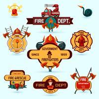 Ensemble d'emblèmes de pompier