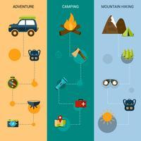 Camping bannières verticales vecteur