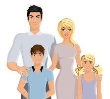 Famille heureuse réaliste vecteur