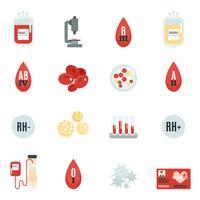 Donneur de sang icônes plat
