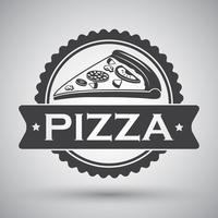 Emblème tranche de pizza vecteur