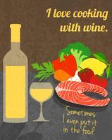 Affiche de cuisine de vin vecteur