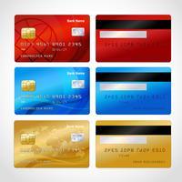 Set de cartes de crédit réalistes vecteur