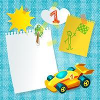 Modèle de carte postale en papier pour voiture de course vecteur