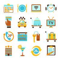 Ensemble d'icônes plat de services hôteliers