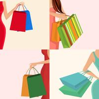 Sac à main fille shopping vecteur