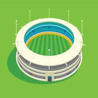 Illustration 3D de stade de cricket vecteur