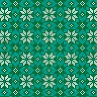 motif vert et turquoise nordique brodé