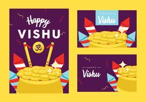Vishu Pack De Vecteur De Carte De Voeux
