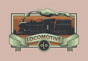 Vieux vecteur étiquette rétro locomotive