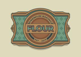 Vecteur d'étiquette rétro de farine de cuisson premium