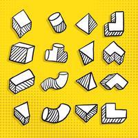 Main dessinée forme géométrique simple dans différentes vues de vecteur carré, prisme, tube et trapèze
