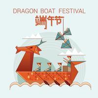 Illustration de style origami d'un bateau-dragon en action