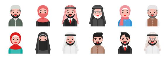 Avatar mignon peuple musulman arabe au design plat vecteur