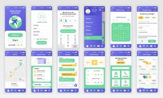 Ensemble d'écrans d'interface utilisateur, UX et GUI Modèle de conception plate pour applications mobiles, structures filaires de site Web réactif. Kit d'interface utilisateur Web. Tableau de bord de livraison. vecteur