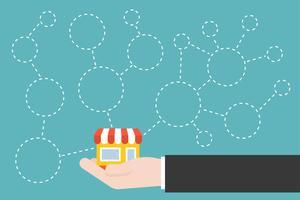 Icône de main et magasin avec branches et cercle blanc