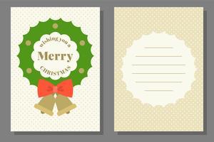 Modèle de carte de voeux ou d'invitation de Noël, design plat vecteur
