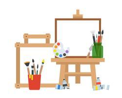 Matériel d'artiste, tableau de peinture, tube de couleur, palette et seau de pinceaux